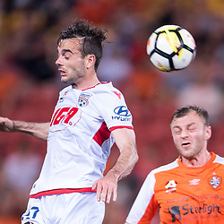 BRISBANE, AUSTRALIA - OCTOBER 13: Nikola Mileusnic of Adelaide heads the ball infant of Avram Papadopoulos of the Roar during the Round 2 Hyundai A-League match between Brisbane Roar and Adelaide United on October 13, 2017 in Brisbane, Australia. (Photo by Patrick Kearney)