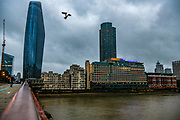 A Seagull is seen flying while The Oxo Tower is seen lit up blue on July 4, 2020, in London, United Kingdom. Sunday marks the 72nd anniversary of the formation of the National Health Service (NHS). British Landmarks and some football stadiums will be lit up blue as a mark of support and gratitude for the NHS. The UK has hailed its NHS for the work they have done during the Covid-19 pandemic. (VXP Photo/ Erica Dezonne)