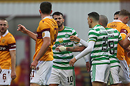 Albian Ajeti (Celtic) and Declan Gallagher (Motherwell) starts a small scuffle during the Scottish Premiership match between Motherwell and Celtic at Fir Park, Motherwell, Scotland on 8 November 2020.