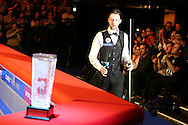 Judd Trump of England walks out past the trophy ahead of the match.  Coral Welsh Open Snooker 2017, final match, Judd Trump of England v Stuart Bingham of England at the Motorpoint Arena in Cardiff, South Wales on Sunday 19th February 2017.<br /> pic by Andrew Orchard, Andrew Orchard sports photography.