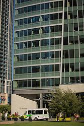United States, Washington, Bellevue, Microsoft office building and employee shuttle van