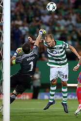 August 15, 2017 - Lisbon, Portugal - Steaua's goalkeeper Florin Nita vies with Sporting's forward Bas Dost from Holland during the UEFA Champions League play-offs first leg football match between Sporting CP and FC Steaua Bucuresti at the Alvalade stadium in Lisbon, Portugal on August 15, 2017. (Credit Image: © Pedro Fiuza/NurPhoto via ZUMA Press)