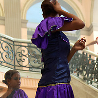 Central America, Cuba, Santa Clara. Cuban dancer in mirror.
