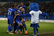 Marko Grujic of Cardiff city © celebrates with his teammates  and the Cardiff Bluebird mascot after he scores his teams 2nd goal. EFL Skybet championship match, Cardiff city v Barnsley at the Cardiff city stadium in Cardiff, South Wales on Tuesday 6th March 2018.<br /> pic by Andrew Orchard, Andrew Orchard sports photography.