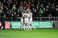 Jonjo Shelvey celebrates his second goal.<br /> Barclays Premier League match, Swansea city v Newcastle Utd at the Liberty stadium in Swansea, South Wales on Wednesday 4th Dec 2013. pic by Phil Rees, Andrew Orchard sports photography,