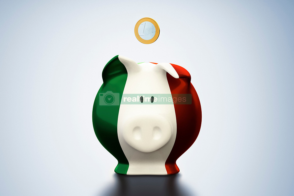 Euro coin above Italian flag piggy bank (Credit Image: © Image Source/Bjoern Holland/Image Source/ZUMAPRESS.com)