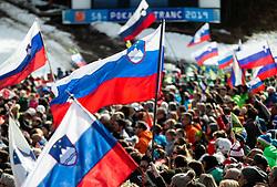 Supporters of Slovenia during the Audi FIS Alpine Ski World Cup Men's Slalom 58th Vitranc Cup 2019 on March 10, 2019 in Podkoren, Kranjska Gora, Slovenia. Photo by Matic Ritonja / Sportida