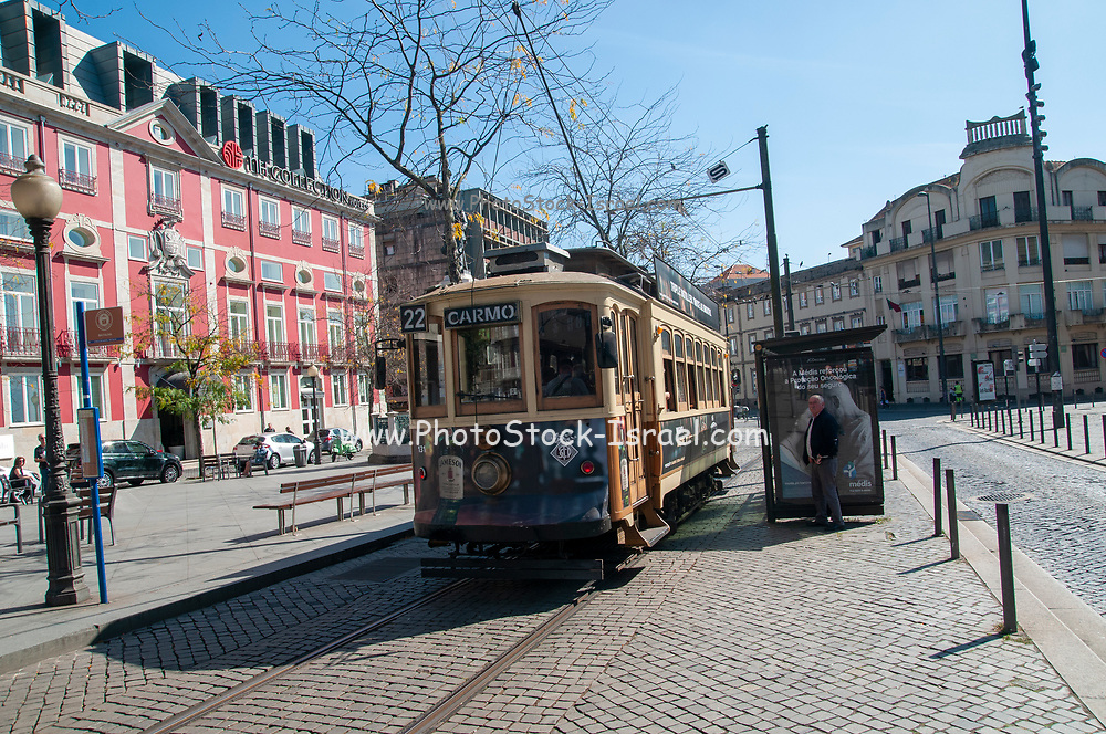 Old style heritage tram at Batalha Square (Praca da Batalha) in Se civil parish of Porto, Portugal