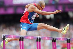 Olympics - London 2012 Olympic Games - 3/8/12.Athletics, 400m Hurdles, Huerden, F. Sanchez (DOM).©Êpixathlon *** Local Caption ***