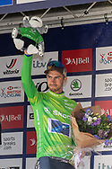 Jacob Scott of Canyon DHB celebrates on the podium after the AJ Bell Tour of Britain 2021, stage 7 between Hawick and Edinburgh, Scotland on 11 September 2021.