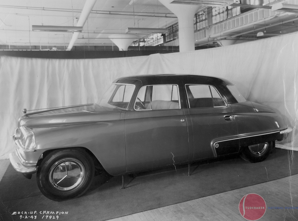Full size model of proposed postwar Studebaker Champion, July 2, 1943