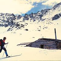Nancy Burke cross country skis towrds an old mine cabin near Copper Mountain ski area, Colorado