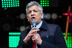 London, UK. 16th March, 2019. Unmesh Desai, Labour London Assembly Member for London and East, addresses thousands of people on the March Against Racism demonstration on UN Anti-Racism Day against a background of increasing far-right activism around the world and a terror attack yesterday on two mosques in New Zealand by a far-right extremist which left 49 people dead and another 48 injured.