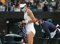 Lawn Tennis - 2021 All England Championships - Week Two - Monday - Wimbledon<br /> Emma Raducanu v Ajia Tomijanovic<br /> <br /> Emma Raducanu of GBR leaves the court for  medical treatment in the 2nd set, which resulted in her having to retire from the match<br /> <br /> Credit : COLORSPORT/Andrew Cowie