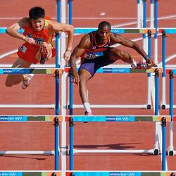 Shi Dongpeng CHN, Gregory Sedoc NED in action during Olympics Games Athletics day 12 on August 24, 2004 in Olympic Stadion Spyridon Louis, Athens.