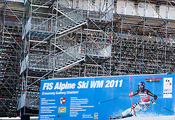 03.02.2011, Garmisch Partenkirchen, GER, FIS Alpine World Championships Garmisch Partenkirchen, Vorberichte, im Bild Preview images for the 2011 Alpine skiing World Championships. An official sign behind the seating area for the slalom races, EXPA Pictures © 2011, PhotoCredit: EXPA/ M. Gunn