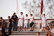 23 SEPTEMBER 2011 - SCOTTSDALE, AZ: Desert Mountain fans wait for the game to start at Desert Mountain High School in Scottsdale. Desert Mountain played Notre Dame in Desert Mountain's homecoming high school football game.    PHOTO BY JACK KURTZ