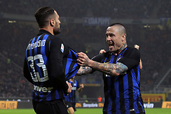 February 17, 2019 - Milan, Milan, Italy - MILAN, ITALY - FEBRUARY 17: Danilo D'Ambrosio #33 of FC Internazionale Milano celebrates with Radja Nainggolan #14 of FC Internazionale Milano after scoring the goal during the serie A match between FC Internazionale and UC Sampdoria at Stadio Giuseppe Meazza on February 17, 2019 in Milan, Italy. (Credit Image: © Giuseppe Cottini/NurPhoto via ZUMA Press)