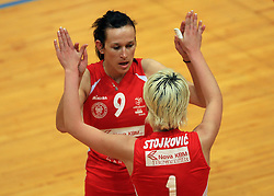 Sonja Borovinsek and Bojana Stojkovic of Nova KBM at 1st match of finals of 1st DOL women volleyball league between OK Hit Nova Gorica and OK Nova KBM Branik, Maribor played in OS Milojke Strukelj, on April 8, 2009, in Nova Gorica, Slovenia. Nova KBM Branik won 3:1. (Photo by Vid Ponikvar / Sportida)
