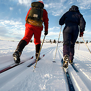 Noorwegen Robru Gol 25 december 2008 20081225 Foto: David Rozing .Wintertafereel, langlaufers in winterlandschap in omgeving Robru.Wintertime, Nordic walking/ langlaufen near Robru..Foto: David Rozing