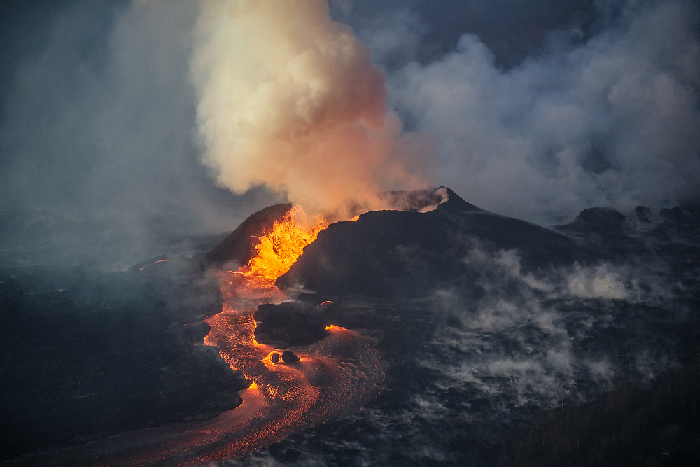 Kilauea's east rift zone: Although lower in height today, vigorous fountaining fed lava into the perched channel system from fissure 8.