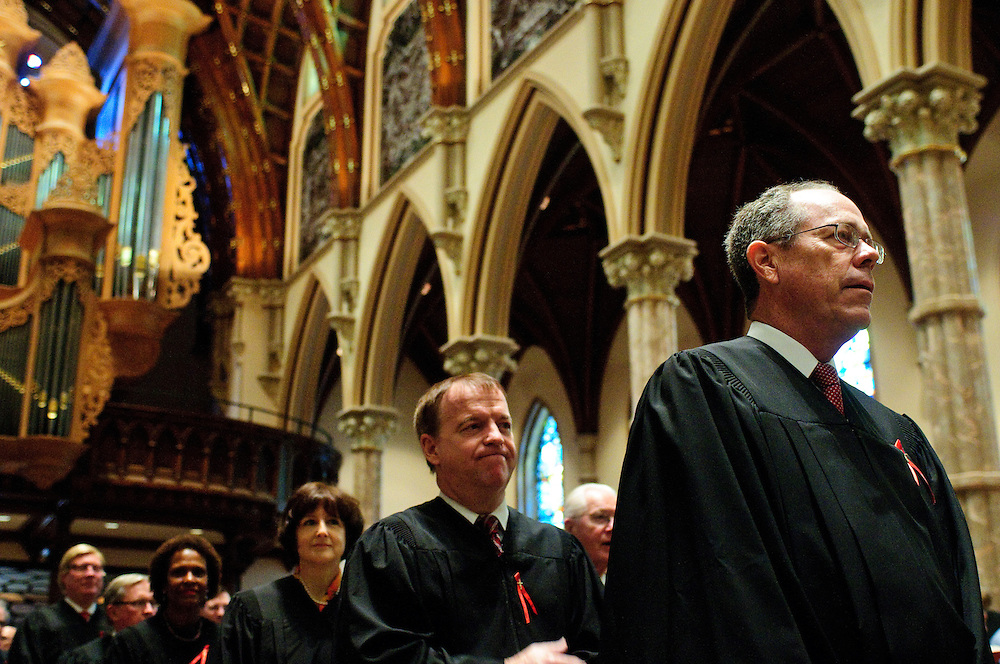"""A procession of judges, law school professors and members of the Catholic Lawyers Guild open the 78th Annual Votive Mass of the Holy Spirit, or """"Red Mass"""" celebrated at Holy Name Cathedral in Chicago. September 30, 2012 l Brian J. Morowczynski~ViaPhotos..For use in a single edition of Catholic New World Publications, Archdiocese of Chicago. Further use and/or distribution may be negotiated separately. Contact ViaPhotos at 708-602-0449 or email brian@viaphotos.com."""