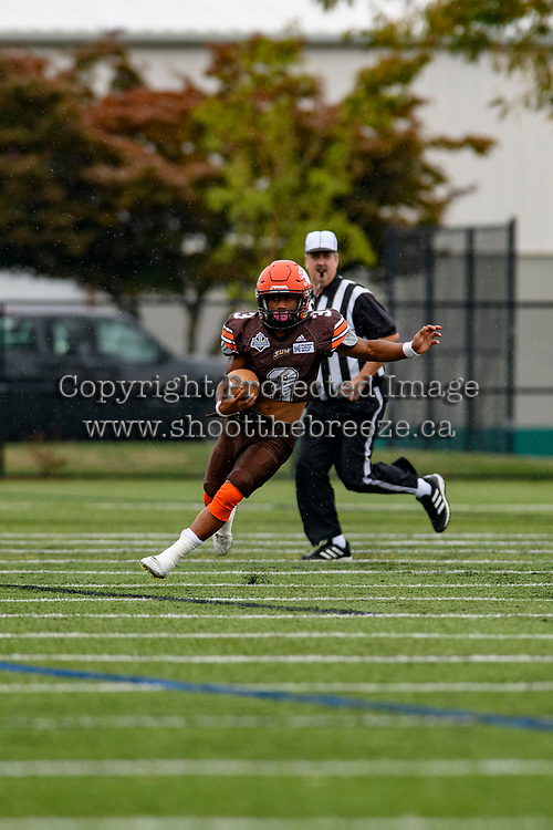 CHILLIWACK, BC - SEPTEMBER 11: Malcolm Miller #3 of Okanagan Sun runs with the ball down the field against the Westshore Rebels at Exhibition Stadium in Chilliwack, BC, Canada. (Photo by Marissa Baecker/Shoot the Breeze)