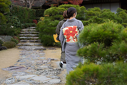 Japanese tourists in traditional dress, Kyoto, Japan. December 10, 2015.  Photography ©2015 Michael Lichter.