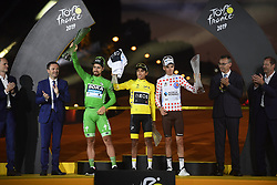 July 28, 2019, France: PARIS, FRANCE - JULY 28 : SAGAN Peter (SVK) of Bora - Hansgrohe,  BERNAL Egan (COL) of Team INEOS, BARDET Romain (FRA) of AG2R La Mondiale during stage 21 of the 106th edition of the 2019 Tour de France cycling race, a stage of 128 kms between Rambouillet and Paris Champs-Elysees on July 28, 2019 in Paris, France, 28/07/2019 (Credit Image: © Panoramic via ZUMA Press)