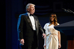 President Donald Trump and First Lady Melania Trump walk on stage during the annual gala at the Ford's Theatre to honor President Abraham Lincoln's legacy , on June 4, 2017 in Washington, DC. Photo by Olivier Douliery/Sipa USA