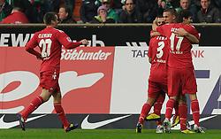 05.11.2011, Weserstadion, Bremen, GER, 1.FBL, Werder Bremen vs 1. FC Köln / Koeln, im Bild Jubel bei Köln nach dem 2:0 durch Lukas Podolski (Koeln #10)..// during the match Werder Bremen vs 1. FC Koeln on 2011/11/05, Weserstadion, Bremen, Germany..EXPA Pictures © 2011, PhotoCredit: EXPA/ nph/  Frisch       ****** out of GER / CRO  / BEL ******
