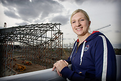 Team GB visit the Aquatics Centre at the Olympic Park Stratford<br /> Pictured overlooking the Aquatics Centre roof is Rebecca Adlington<br /> Pic taken 09.05.09 by David Poultney @ ODA
