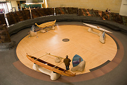 Washington, DC: National Museum of the American Indian.  Interior view of canoes.  Photo # wash99308-70621..Photo copyright Lee Foster, www.fostertravel.com, lee@fostertravel.com, 510/549-2202