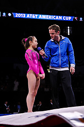 March 2, 2013 - Worcester, Massachusetts, USA - KATELYN OHASHI of the USA talks with master of ceremonies JOHN MACREADY after winning the 2013 American Cup at the DCU Center in Worcester, Massachusetts. (Credit Image: © Geoffrey Bolt/ZUMAPRESS.com)