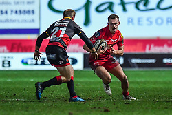 Scarlets' Ioan Nicholas in action during todays match<br /> <br /> Photographer Craig Thomas/Replay Images<br /> <br /> Guinness PRO14 Round 13 - Scarlets v Dragons - Friday 5th January 2018 - Parc Y Scarlets - Llanelli<br /> <br /> World Copyright © Replay Images . All rights reserved. info@replayimages.co.uk - http://replayimages.co.uk