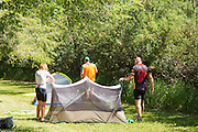 Cyclists set up camp at Wilkie Regional Park at the end of their first day of cycling.