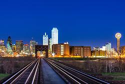 Train tracks over the Trinity River to Downtown, Dallas, Texas, USA.
