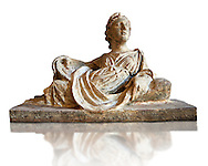 Etruscan Hellenistic style cinerary, funreary, urn  cover with a depiction of a women,  National Archaeological Museum Florence, Italy, white background .<br /> <br /> If you prefer to buy from our ALAMY PHOTO LIBRARY  Collection visit : https://www.alamy.com/portfolio/paul-williams-funkystock - Scroll down and type - Etruscan Florence - into LOWER search box. (TIP - Refine search by adding a background colour as well).<br /> <br /> Visit our ETRUSCAN PHOTO COLLECTIONS for more photos to download or buy as wall art prints https://funkystock.photoshelter.com/gallery-collection/Pictures-Images-of-Etruscan-Historic-Sites-Art-Artefacts-Antiquities/C0000GgxRXWVMLyc