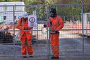 """HS2 site workers are seen working at HS2 site in Crackley Woods staying not home and close to one another against Social Distance, which is one of Public Health England (PHE) Guidance rule that aims to curb Coronavirus pandemic outbreak in Britain on Tuesday, April 14, 2020. (Photo/Vudi Xhymshiti)<br /> """"These people can bring Covid19 and infect the entire population in Coventry,"""" said an eyewitness. Victoria, a concerned citizen said that quote: """"they come from other countries and parts of Britain, they shop here, they sleep in our hotels and they don't keep the distance, they're putting us all at risk."""""""