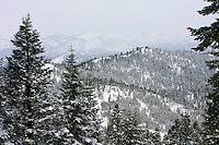 24 February 2008: View of snow covered mountains during a late winter storm in Lake Tahoe, Truckee Nevada California border in the Sierra Mountains.