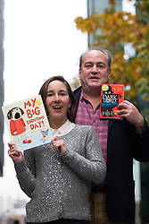 © licensed to London News Pictures. London, UK 06/11/2012. Winners of Roald Dahl Funny Prize, Rebecca Patterson (left) with her children's book My Big Shouting Day and Jamie Thomson with his Dark Lord: Teenage Years posing in London on 06/11/12. Photo credit: Tolga Akmen/LNP