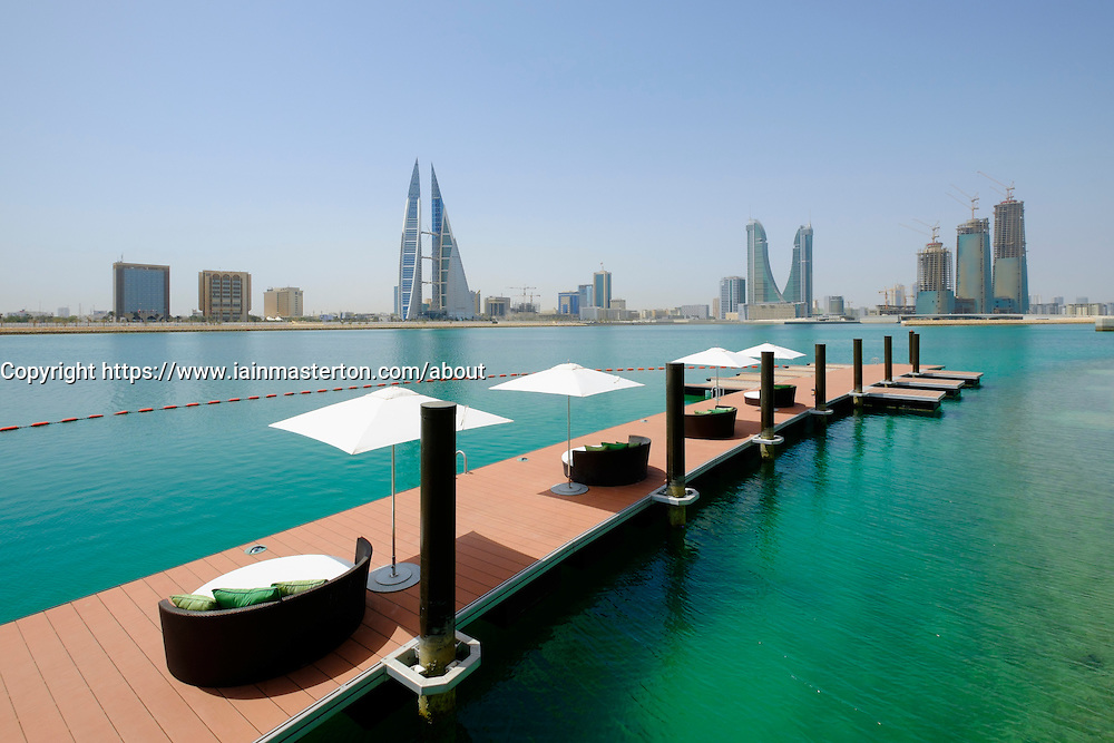 View of Bahrain skyline and Bahrain Bay from new Four Seasons Bahrain Bay luxury Hotel in Bahrain