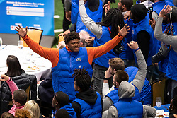 "The Michigan Wolverines and the Florida Gators participate in ""Battle for Bowl Week"" games at the College Football Hall of Fame on Wednesday, December 26, 2018, in Atlanta. Michigan will face Florida in the 2018 Chick-fil-A Peach Bowl NCAA football game on December 29, 2018. (Jeannie Abell via Abell Images for the Chick-fil-A Peach Bowl)"