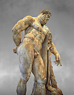 End of 2nd century beginning of 3rd century AD Roman marble sculpture of Hercules at rest copied from the second half of the 4th century BC Hellanistic Greek original,  inv 6001, Farnese Collection, Museum of Archaeology, Italy, grey art background ..<br /> <br /> If you prefer to buy from our ALAMY STOCK LIBRARY page at https://www.alamy.com/portfolio/paul-williams-funkystock/greco-roman-sculptures.html . Type -    Naples    - into LOWER SEARCH WITHIN GALLERY box - Refine search by adding a subject, place, background colour, etc.<br /> <br /> Visit our ROMAN WORLD PHOTO COLLECTIONS for more photos to download or buy as wall art prints https://funkystock.photoshelter.com/gallery-collection/The-Romans-Art-Artefacts-Antiquities-Historic-Sites-Pictures-Images/C0000r2uLJJo9_s0