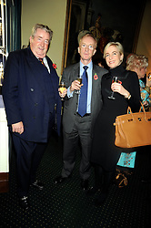 Left to right, SIR WILLIAM McALPINE, NICHOLAS WITCHELL and MARIA STAPLES at a reception to support The Hyde Park Appeal held in the officers Mess, Household Cavalry Mounted Regiment, Hyde Park Barracks, London SW1 on 10th November 2008.