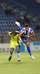 05102018 (Durban) Capetown City player kwanda Mngonyama fight for a ball during the game when Maritzburg United takes head on Cape Town City in an Absa Premiership match at theharry Gwala stadium in Pietermaritzburg on Friday night.<br /> Picture: Motshwari Mofokeng/African News Agency (ANA)