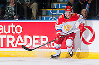 KELOWNA, CANADA - NOVEMBER 9: Daniil Vovchenko #28 of Team Russia skates against the Team WHL on November 9, 2015 during game 1 of the Canada Russia Super Series at Prospera Place in Kelowna, British Columbia, Canada.  (Photo by Marissa Baecker/Western Hockey League)  *** Local Caption *** Daniil Vovchenko;