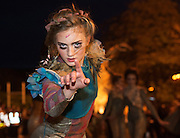 25/10/2015  Dancer in the Macnas parade on the streets of Galway.<br />  'The Shadow Lighter' featured the new Macnas character of Danu – a 15 ft high wild woman, the shadow lighter mistress of old stories, magic and medicine. Alongside her walked Danu's spirit animal, The Wolf of Danu, a beautiful, strong and fierce wolf, circling around Danu to protect her.  <br /> <br /> DUBLIN MONDAY NIGHT.<br /> Macnas will close the Bram Stoker Festival at twilight on Monday 26th October. In what is set to be another breath-taking citywide procession, Dublin's city streets will transform as the journey of Danu takes place, beginning in 3 city centre locations at 5.30pm with a final gathering in Wolfe Tone Square. This is a deadly adventure given life on the streets of Dublin.  Procession routes will be available to see and download from bramstokerfestival.com .Photo:Andrew Downes, xposure