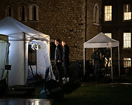 UK. London. The Village Green: From Blair to Brexit.<br /> A story on the relationship between the Media, Politicians and the public as they come together on College Green, a small patch of land next to The Houses of Parliament in Westminster. <br /> Photo shows film crews on College Green after the British Prime Minister Theresa May survives a 'Vote of No Confidence' in The House of Commons during the BREXIT talks to leave the EU following the 2016 Referendum.<br /> Photo ©Steve Forrest/Workers' Photos