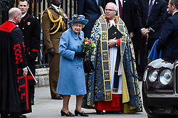 © Licensed to London News Pictures. 09/03/2020. LONDON, UK. The Queen leaves Westminster Abbey after attending the annual church service on Commonwealth Day.  Photo credit: Stephen Chung/LNP